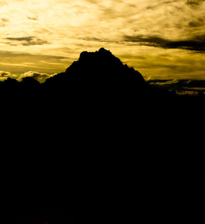 The mysterious mountain at sunset.