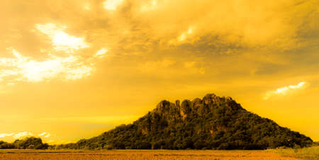 The mysterious mountain at sunset. photo