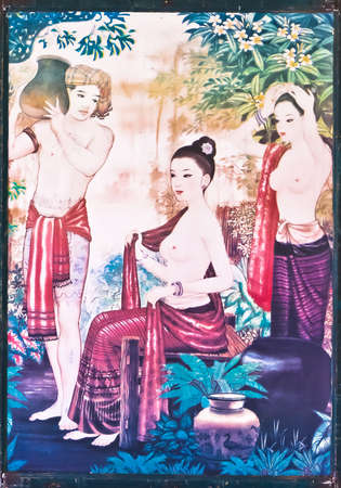 Thai literature painting on the wall.