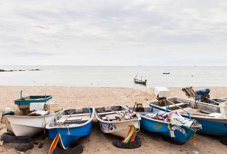 Small fishing boats used to catch fish. The eastern part of Thailand.