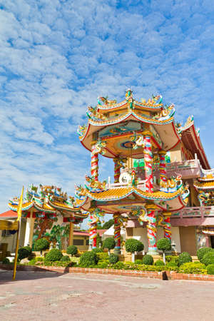 Chinese Shrine, a beautiful Chinese temple, a dragon statue. Chonburi. Eastern part of Thailand. photo