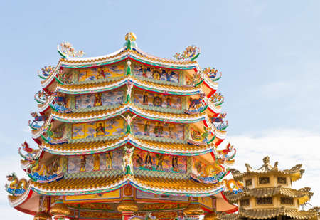 Chinese Shrine, a beautiful Chinese temple, a dragon statue. Chonburi. Eastern part of Thailand.