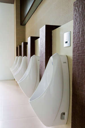 Urinals in the mens bathroom.