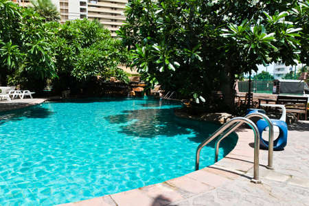 Swimming pool in the seaside resort.