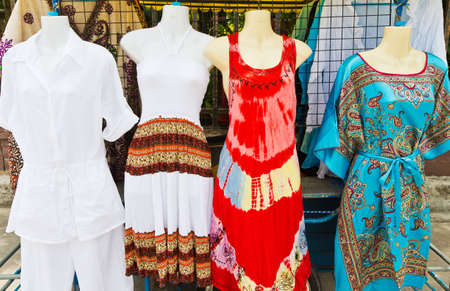 Womens clothing at the beach.