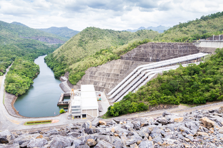 Srinakarin Dam Beautiful views of the reservoir. Sawat, Kanchanaburi, Thailand . Stock Photo