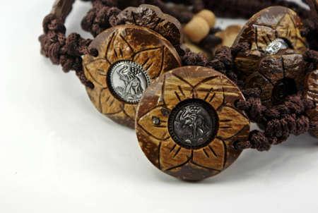 wooden flower buttons photo