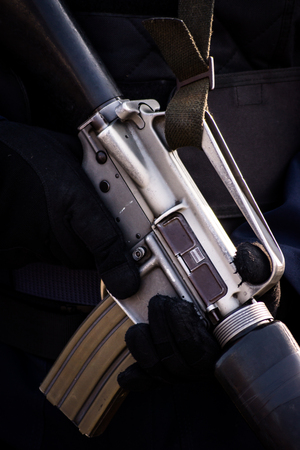 persuasion: Soldiers Holding a Machine Gun