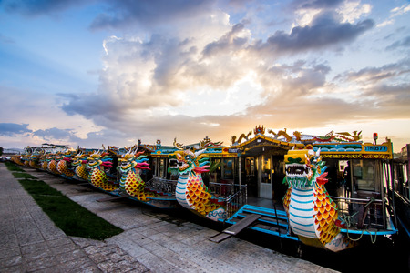 Dragon boat hue vietnam Stock Photo