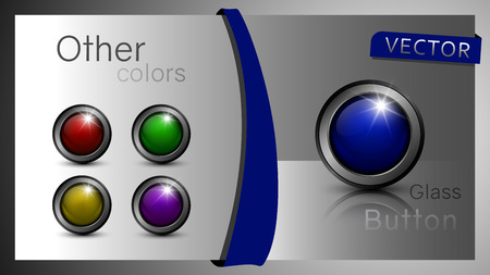 Glass, vector buttons for web design and other projects