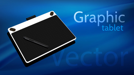 Graphic tablet on beautiful background - vector