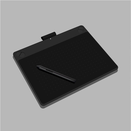 Graphic tablet black color isolated on gray background. Vector Illustration - Vector Illustration