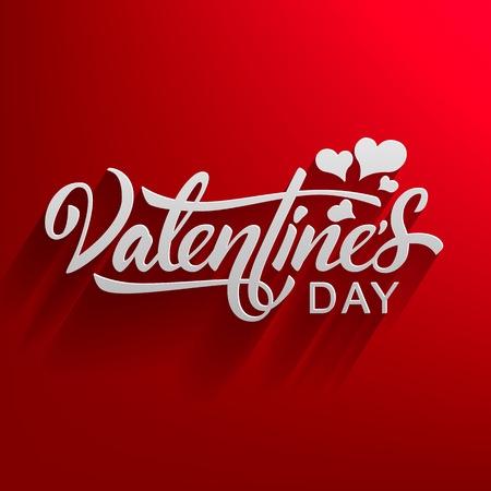 Valentines Day. Elegant Lettering Isolated on Red Gradient Background. Vector Illustration - Vector Иллюстрация
