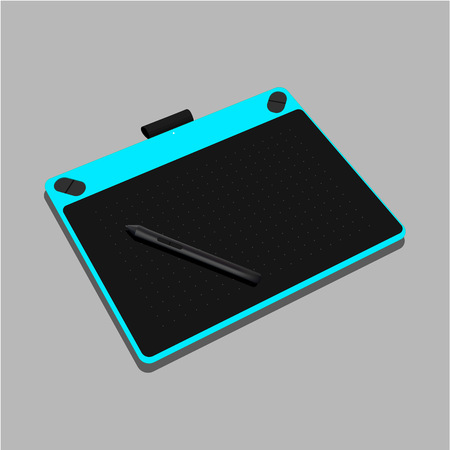 Graphic tablet turquoise color isolated on gray background. Vector Illustration - Vector