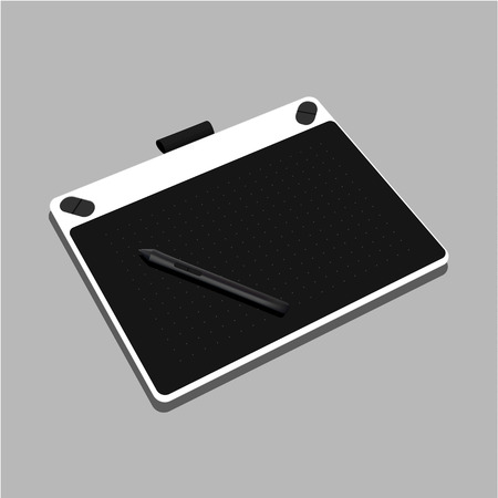 Graphic tablet white color isolated on gray background. Vector Illustration - Vector Illustration