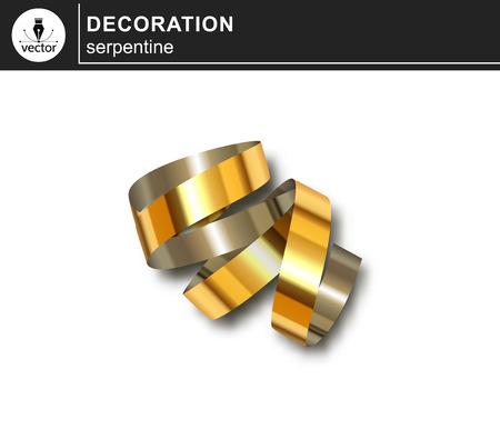 Golden serpentine. Decorative design element isolated on white background. Vector 向量圖像