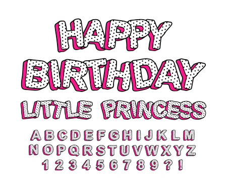 Set of cute 3D letters of the English alphabet. Suitable for banner design, picture for birthday invite card.