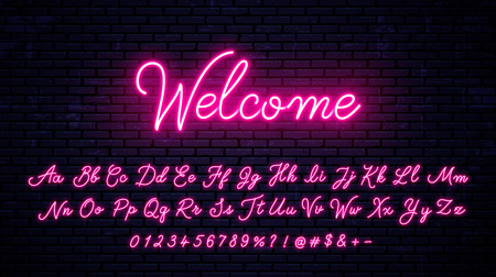 Vector neon alphabet on wall background Illustration