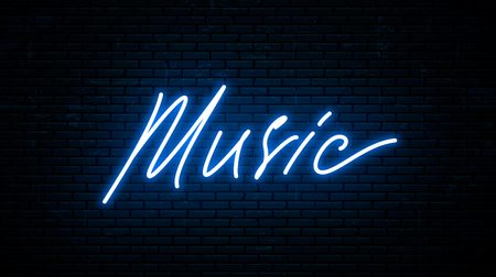 Music, neon inscription isolated against the wall. Vector Illustration