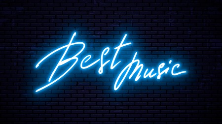 Neon inscription, Best music. Vector Illustration Illustration