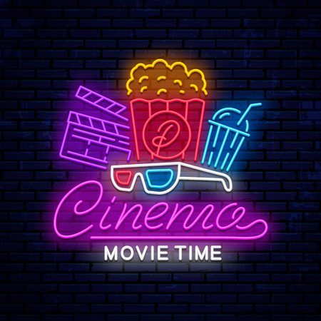 Cinema vector neon sign. Vector illustration