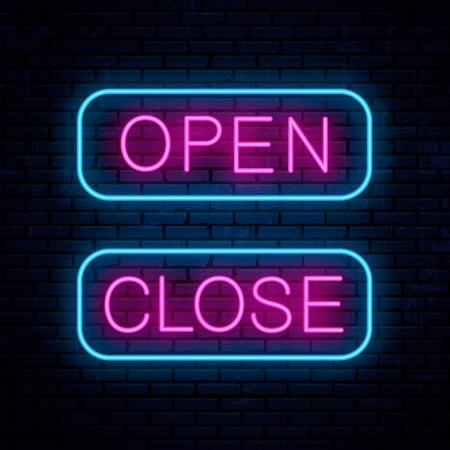 Open and Close. Vector neon signs. Vector Illustration Banco de Imagens - 119808307