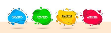Conjunto de banners multicolores de moda de forma líquida y con contorno negro alrededor. Vector banners modernos para publicidad, marketing, negocios y para uso en dirección web.