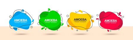 Ensemble de bannières multicolores à la mode de forme liquide et avec contour noir autour. Bannières vectorielles modernes pour la publicité, le marketing, les affaires et pour une utilisation dans la direction Web.
