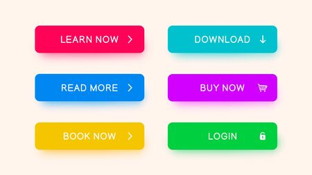 Vector monochrome web-buttons red, blue, yellow, purple, green color. Colored buttons with falling shadows for web design, apps and more. Illustration