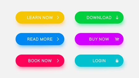 Bright monochrome web buttons of yellow, blue, red, green, purple and bright blue color with falling color shadow. Vector buttons for web design, mobile devices, banners and more. Illustration