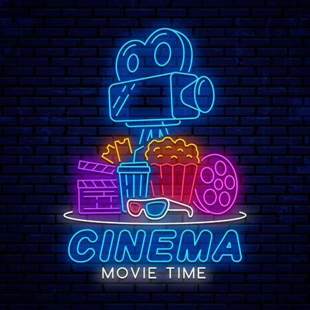 Modern bright neon sign for cinema. Badge, emblem for decoration of posters, banners, billboards, signs for the cinema. Neon design for printing. Movie logo.