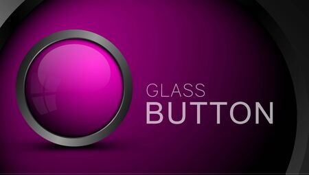 Pink round shape web button with metal frame. Button for ui apps and games.