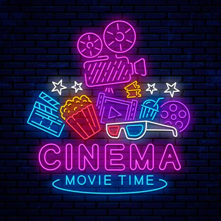 Cinema, night neon sign, logo, emblem, icon for movie. Bright signboard, bright night advertising. Glowing neon cinema banner. Template for the signboard, billboard. Vector movie logo. Çizim