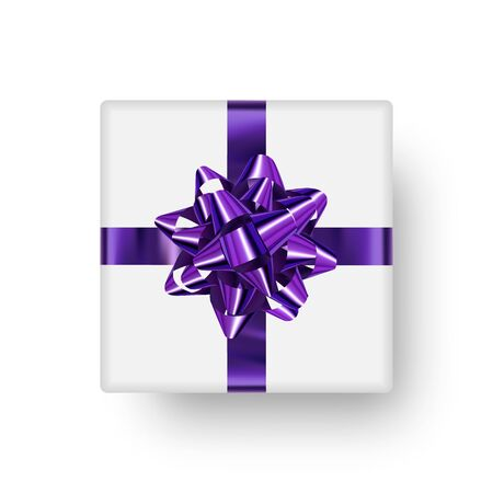 White realistic gift box with shiny purple bow in the shape of star and with falling shadow. Ready clipart element, gift box isolated on white background.