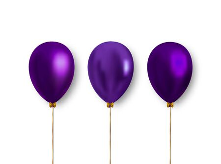 Colorful realistic balloons of purple color isolated on white background. Vector balloons, clipart to decoration the design of greeting cards, banners and more. Ilustrace