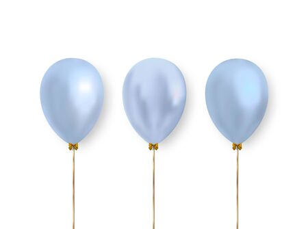 Cute pastel blue balloons for decoration the design of greeting, wedding, holiday cards, banners and more. Vector realistic balloons.