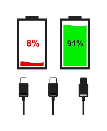 Flat color icons of battery and type-c cables isolated on white background. Vector battery level indicators.