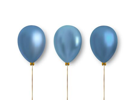 Set of realistic light blue balloons to decorate greeting cards, banners and more. Vector clipart object, balloon. Ilustrace