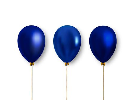 Bright, realistic blue balloons with falling shadow. Vector clipart object to decorate holiday banners, posters, cards and more.