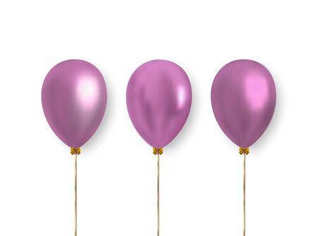 Glossy light pink balls with falling shadow isolated on white background. Vector balloons to decoration greeting cards, banners and more.