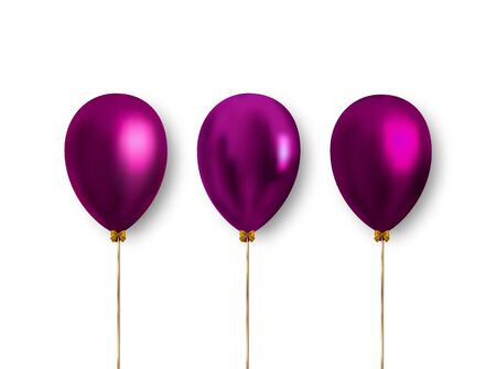 Realistic purple balloons isolated on white background to decorate holiday banners, cards and much more. Ready vector clipart for decoration. Ilustrace