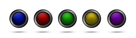 Glass vector buttons with metal frame. Glass buttons for web design, apps, games and more.