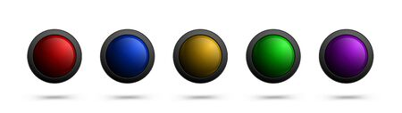 Set of glass vector buttons for web, apps, software, games and more. Illustration