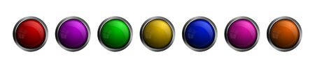 Set of vector glass buttons of different colors. Round shaped glass buttons for web design, apps, ui, games, software and more.