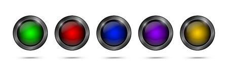 Multicolored glass buttons for web design, apps, games and more. Empty glass buttons round shape. Set of vector web elements.