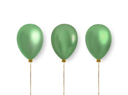 Colorful realistic balloons on white background with falling shadow. Glossy balloons of light green color for decorating greeting cards, banners and more.