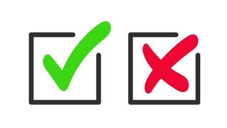 Green checkmark and red cross icon. Vector symbol of approved and reject. Иллюстрация