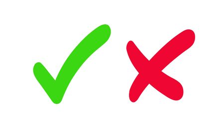 Green check mark and red cross. Symbol, icon, approval mark and rejection. Green checkmark and red cross isolated on white background.