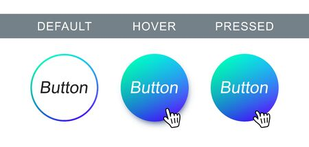 Blue modern, trendy button in different state. Vector abstract round button for web design and interface.