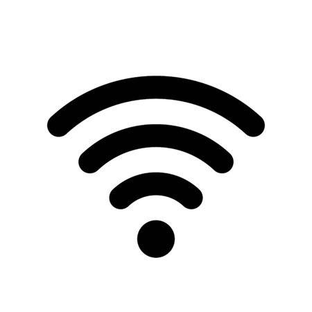 Wifi or antenna symbol, icon, sign isolated on white background. Vector wlan access, wireless wifi hotspot signal sign, icon for use in the interface of various types of devices, web design and more. Ilustracja